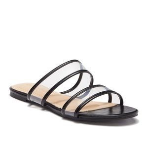Chase and Chloe Black Clear Flat Sandals